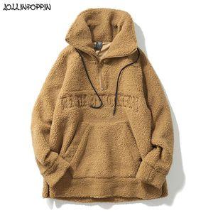 Hip Hop Letras Bordado Half Zip Fleece Jacket Stand Collar High Street Men Otoño Invierno Sherpa Jacket Side Zipper Pullovers