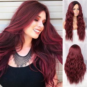 Wholesale Cheap Ombre Wig Long Wave Synthetic Black to Burgundy Lace Front Wig Glueless Wine Red Synthetic Wigs for Black Women