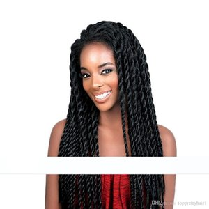 H Braided Wigs For Black Women Wigs Black Color Synthetic Heat Resistant Fiber Hair Glueless Afro 2x Twist Braids Synthetic Braided Lac