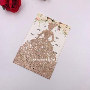 2019 neue Ankunfts-Rose Gold Glitter Laser Cut Kronprinzessin Einladungen für Geburtstag Bonbon 15 Quinceanera Einladungskarten, Bonbon-16 Einladungen