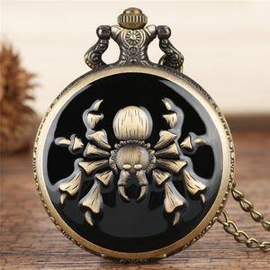 펑크 멋진 거미 디자인 석영 포켓 시계 전체 헌터 청동 목걸이 체인 남성 여성 펜던트 시계 보석 선물