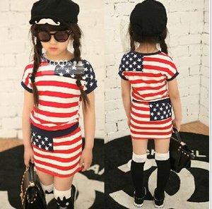 Summer New Style Girls Clothing Outfits Short Sleeve T-shirt+Skirt Kids 2pcs Set Children Costume Striped suit Child Set 5set lot HR366