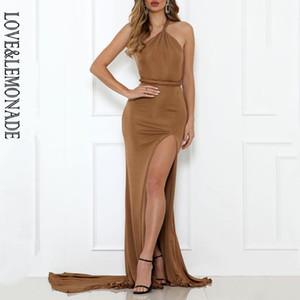 AŞK LEMONADE Seksi Eğik BODYCON Ayrılma Maxi Elbise LM90223