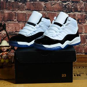 С коробкой дети 11 XI 11s Конкорд 45 Белый Черный мальчик девочка баскетбол обувь высокая вырезать дети малыш открытый тренеры мода спортивные кроссовки