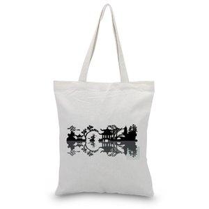Ink Draw Canvas Bags Tote Bag Shopping Eco Reusable Shoulder Bag Bolso DIY Print Logo Bolsas de hombro casuales