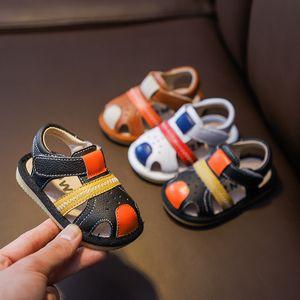 Summer Infant Anti-collision Sandals Baby Girls Boys Toddler Shoes Soft Bottom Genuine Leather Kids Children Beach Sandals