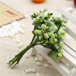 12 Unids / ramo Artificial Flor Estambre Ramo Alambre Tallo / matrimonio Hojas Estambre DIY Guirnalda Boda Caja Scrapbook Decoración