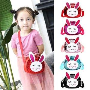 Sveglia del cuoio PU bambini borsa della moneta del coniglio paillettes mini borsa Messenger Bag bambini Borsello per Ragazze Shoulder Bags