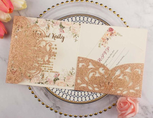 free shipping 50X Champagne glitter Rose gold wedding invitations envelope personalized RSVP laser cutting pocket fold invite