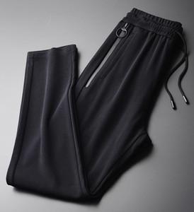 Minglu de punto Pantalones Hombre 3D del resorte de la Cruz raya negra para hombre Pantalones tamaño 4XL doble bolsillo con cremallera delgado pantalones ocasionales