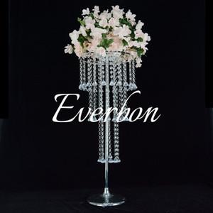 3 camada de Luxo Acrílico candelabro de cristal suporte de flor de cristal frisada Wedding Aisle Pillar para casamentos Decoração