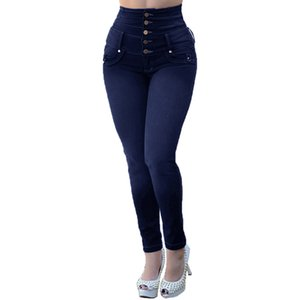 CHAMSGEND 2019 Women's High Waist Five Button Wide Waist Jeans Fashion Skinny Jeans Stretch Slim Pants Calf Length Jeans Fe6