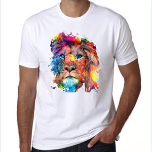 Moda algodón O-cuello del león camiseta impresa de los hombres ocasionales verano manga corta de los hombres de Hip Hop camiseta remata tes