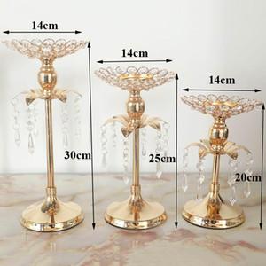 Home Gold Crystal Candle Holder Wedding Decoration Table Centerpieces Candelabra Party Flower Vase Holder 20 30 40cm
