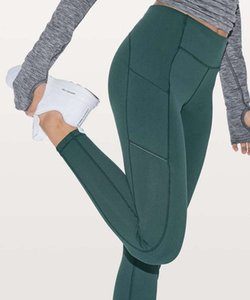 "Yoga solide taille haute gymnastique Leggings Vêtements femme leggings yogaworld pantalon dame LadyLululemonluluFEMMES le sport élastique 28"" Legg"
