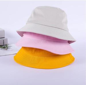 2020 черный белый твердый Bucket Hat Unisex Bob Caps Hip Hop Gorros Мужчины Женщины Лето Панама Cap Бич ВС Рыбалка Boonie Hat