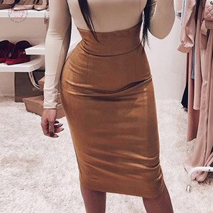 Women Pencil Skirt Women Solid Color Autumn Winter High Waist Bodycon Vintage Split Stretchy Package Hip Wrap Skirts Female