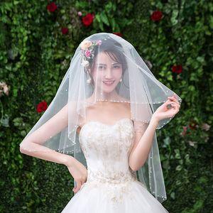 Mode 2019 blanc élégant Veil Bride Veil nouveau clou à une seule couche souple Accessoires net broderie de fil court dentelle exportations Bridal Veil à l'étranger
