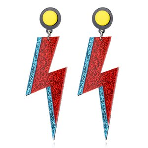 Statement Shiny Glitter Lightning Acrylic Drop Earrings For Women Punk Long Pendant Dangle Earrings Fashion Jewelry Accessories