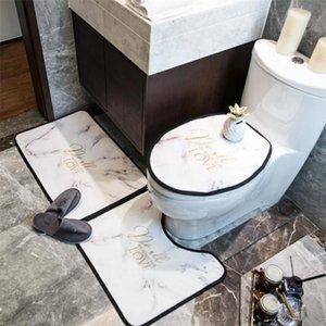 Fashion Letter Printed Toilet Seat Cover Trendy Non-slip Pattern Mats Retro Quick Dry Three-piece U Seat Cover