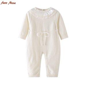 Bébé nouveau-né filles tricot barboteuse combinaison blanc dentelle One Piece bébé vêtements coton infantile fille blanc tenues J190525
