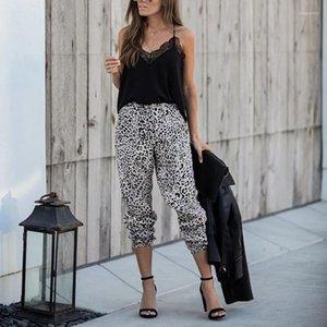 Pantalones para mujer de Capris de la linterna de las mujeres atractivas del estampado leopardo pantalones resorte de las señoras suelta mediados de cintura Ropa
