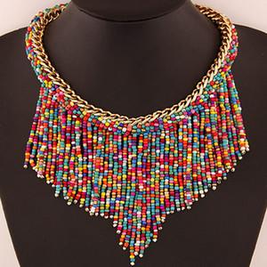 새로운 보헤미안 목걸이 패션 쥬얼리 여성 Handmade Handier Collier Long Tassel Beads Choker Statement Necklaces