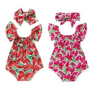 Emmababy лето горячее 2pcs печати Cute Set новорожденный ребенок Giatermelon Костюм Bodysuit Romper Комбинезон легкий костюм с шортами Лук Оголовье