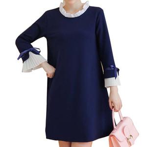 Vestidos de maternidade elegantes com arco retalhos maternidade roupas para Gestantes Vestidos Premama O Neck A Linha Hamile Elbisesi S200110