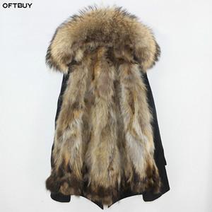 OFTBUY Capa Impermeable De Piel real Parka Chaqueta de invierno Mujeres del mapache piel natural Fox cuello de piel de línea gruesa caliente streetwear ropa exterior CJ191213