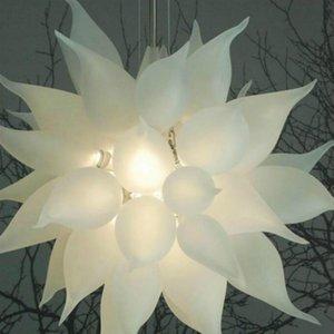 American Country Retro Канделябр выдувного стекло Гостиная Современная американская Белые матовое стекло Люстра висит кулон лампу с светодиодными лампами