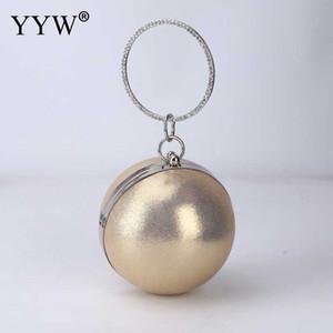 2020 Borsa Moda strass Donna rotonda sera Oro Argento Black Ladies borsa delle donne della frizione della borsa piccola rotonda catena della spalla
