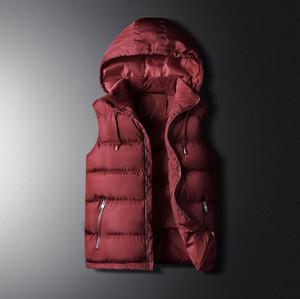 Дизайнер Мужские жилеты мода тенденция красивый капюшоном толстый хлопок жилет зима теплая тонкий жилет куртка в 3 цвета