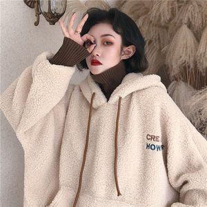 2020 Women Sweatshirt Spring Artificial Wool hoodies Coat With Pullover Ladies Casual Winter Parka Outerwear Lamb cashmere Coat Y200706