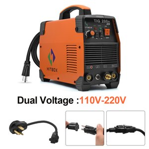 HITBOX TIG Welder Stick MMA IGBT Inverter 220V 200Amp High Frequency Portable Welding Machine with Electrode Holder Earth Clamp Tig Torch