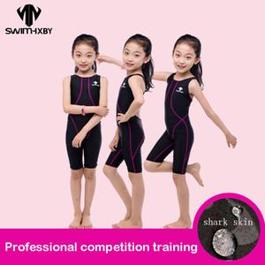 Hxby Competition Swimsuit For Girls One Piece детский профессиональный купальник для девочек конкурентные купальники дети колено плавать