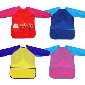 delantal de la pintura para la pintura del arte de los niños guardapolvos artista de los niños delantal impermeable de manga larga con 3 bolsillos para niños y niñas