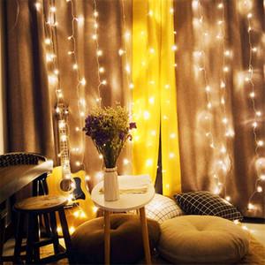 NUEVA luz de cortina 9.8FT / 300 LED Cortina de ventana Luz de cadena Fiesta de boda Hogar Jardín Dormitorio Decoraciones de pared interior al aire libre, blanco cálido