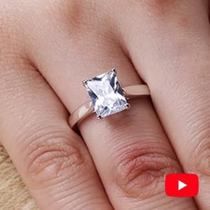 Sona color D Anillo fino S925 plata anillo de diamantes solitario me casa 925 4 Radiant Cut