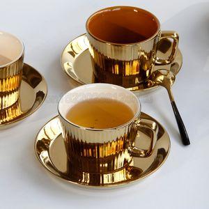 Luxurious Europäische galvanisieren Goldene Keramik Kaffeetasse Untertassen Hotel Club Restaurant Cappuccino Latte Kaffee-Milch-Cups Copos