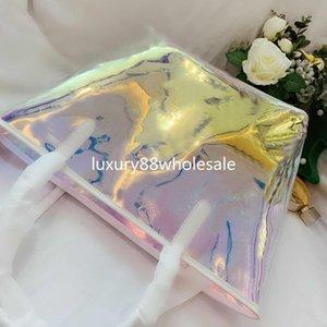 New trend women Colorful Transparent Jelly pvc Laser handbag Shoulder chain Messenger Bag reflect Beach party mini handbags g119