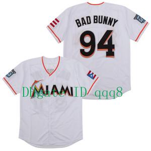 Qualité supérieure ! Maimi Bad lapin Jersey baseball blanc avec Porto Rico Drapeau pleine Cousu shirt Taille S-4XL