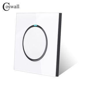 Coswall New Arrival Painel de Cristal 1 Gang 2 Way Aleatório Clique Push Button Wall Light switch com LED indicador