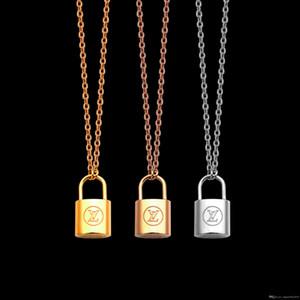 고급 쥬얼리 실버 로즈 골드 잠금 펜던트 디자이너 목걸이 18K 금 스테인레스 얇은 체인 여성 목걸이 패션 스타일