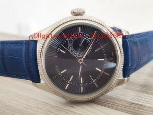 melhor venda Comprar Mens Relógios 39 mm 50519 50515 Caixa de aço inoxidável mostrador preto faixas de couro Asia 2813 movimento automático Correia Relógios