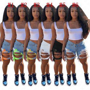 D62807 Agujeros mujeres de moda Denim Jean Pantalones cortos apenado de estiramiento lavado de mezclilla pantalones cortos de verano Cut Off raído dobladillo del motorista pantalón blanco Negro