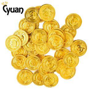 Cyuan 50 unids Piratas Monedas de Oro Juego de Monedas de Plástico Para Kid Party Prop Gold Treasure Coins Para Halloween Decoración de Fiesta de Navidad