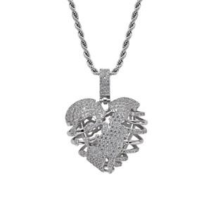Высокое Качество Хип-Хоп Ювелирные Изделия Разбитое Сердце Скелет Ожерелье С Теннисной Цепи, Цепи, Колье для Человека