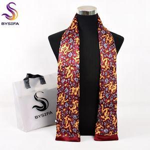 [BYSIFA] Ouro Vermelho Masculino Lenço de seda 2017 New Design 100% Men Pure cetim de seda lenços longa Primavera Queda Moda Cravat 160 26 centímetros *