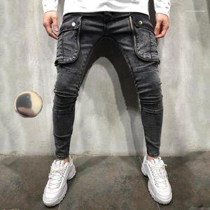 Jeans Fashion Gradient Slim Pencil Pants Male New Designer Trousers Mens Big pocket Hole
